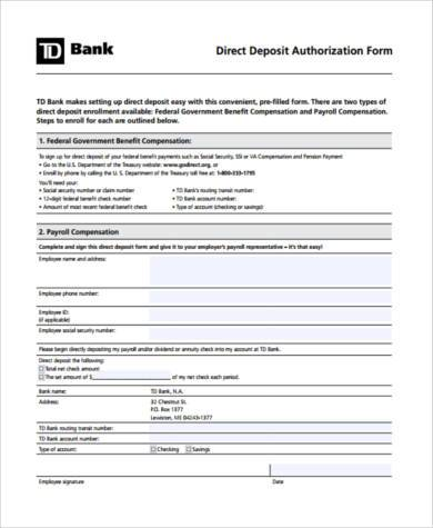 printable direct deposit authorization form