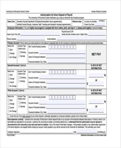 printable direct deposit form example