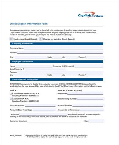 printable direct deposit information form