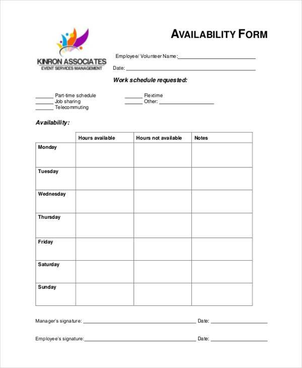 Sample Employee Availability Forms 9 Free Documents In Word Pdf