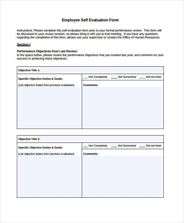 7 Employee Self Evaluation Form Samples Free Sample
