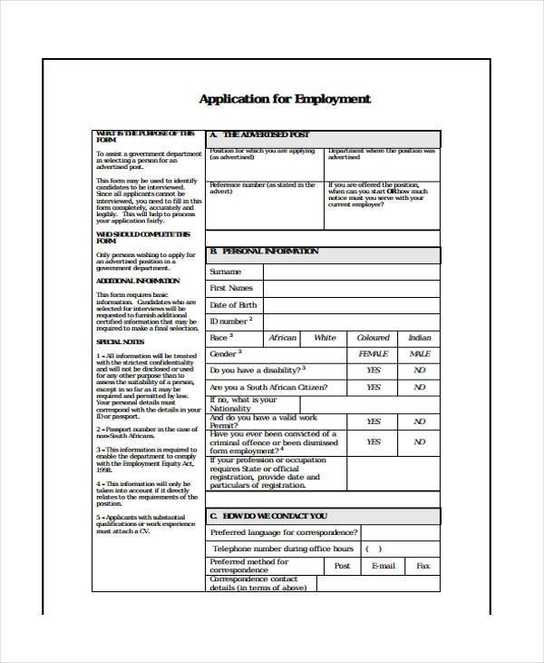 printable employment application form