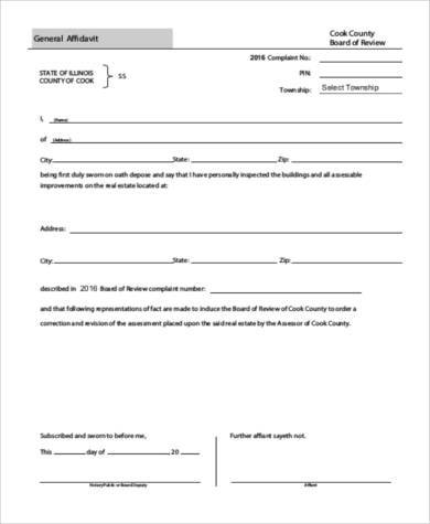 printable general affidavit form