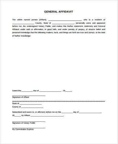 General Affidavit Form Samples   Free Documents In Word Pdf