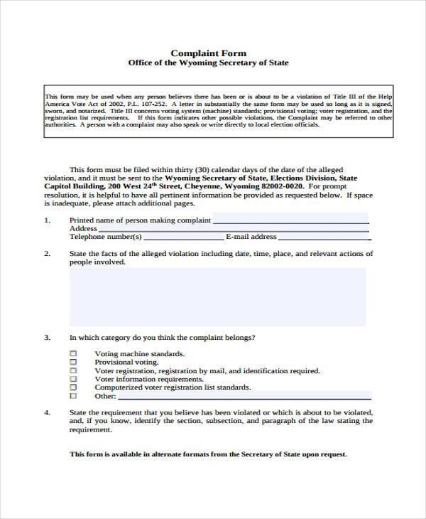 printable general complaint form