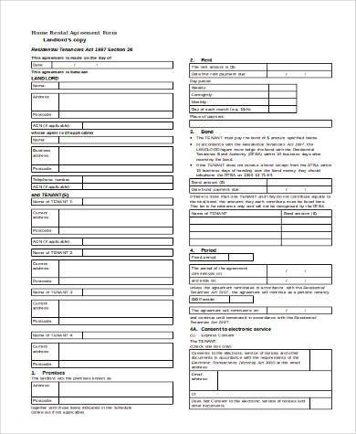 printable home rental agreement form