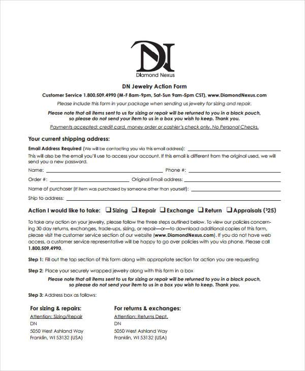 printable jewelry appraisal form