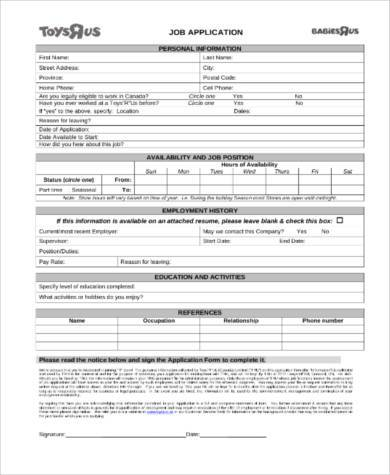 Printable Application Form Samples   Free Documents In Word Pdf