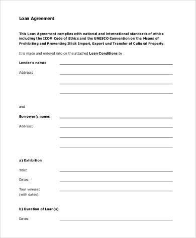 printable loan agreement form pdf