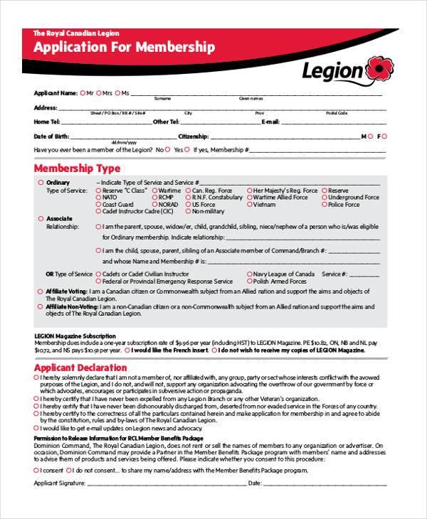 printable membership application form