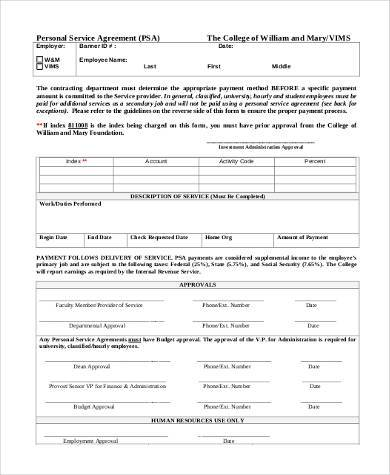 printable personal service agreement form