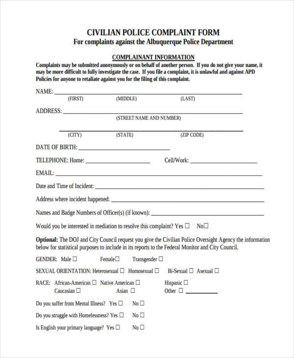 printable police complaint form