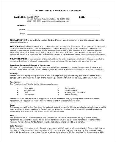 printable room month to month rental agreement form