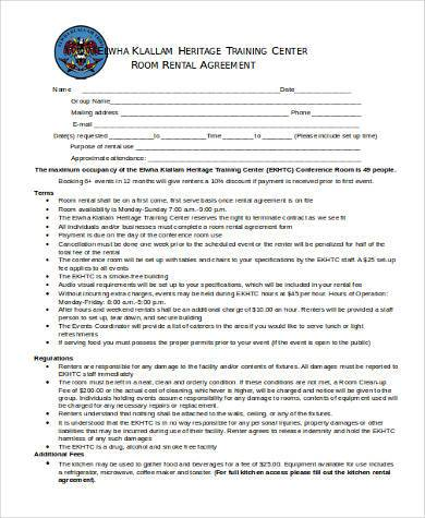 printable room rental agreement form1