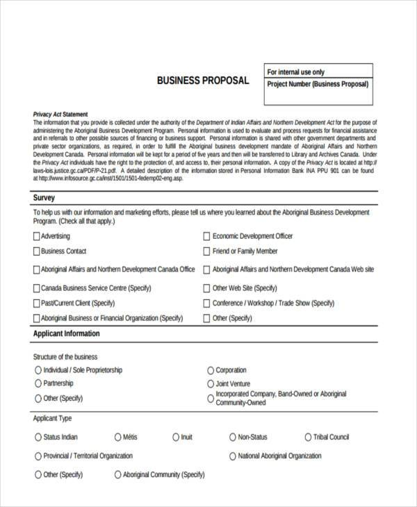 printable sample business proposal form