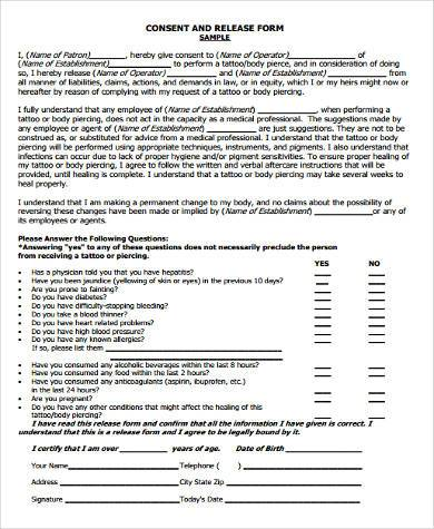 Tattoo Consent Form Samples   Free Documents In Word Pdf