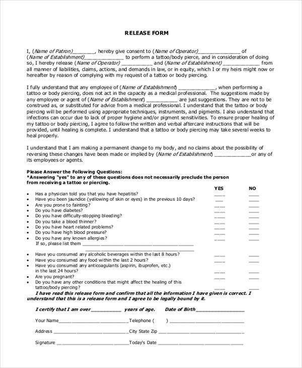 Free 9 Tattoo Release Form Samples In Sample Example Format