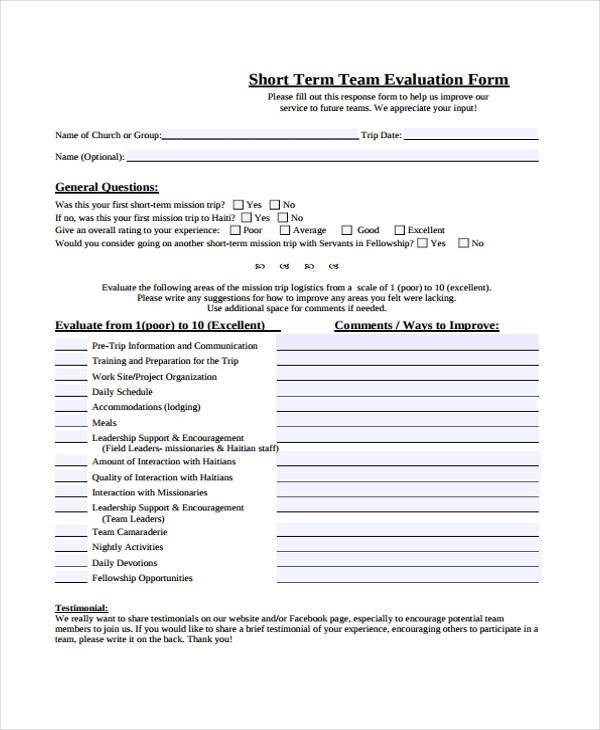 printable team evaluation form