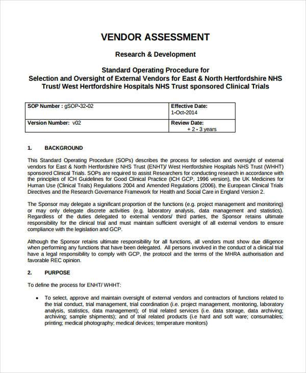 Vendor Assessment Form Samples  Free Sample Example Format Download