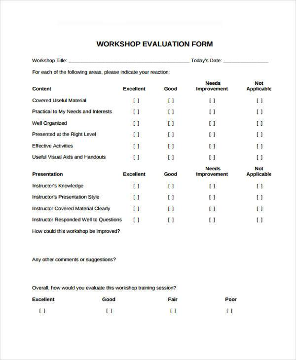 printable workshop evaluation form
