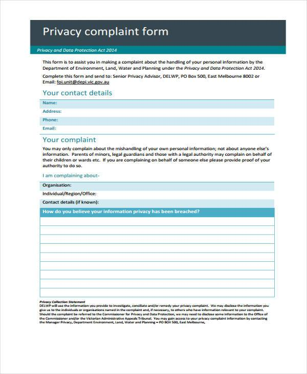 privacy complaint form in pdf
