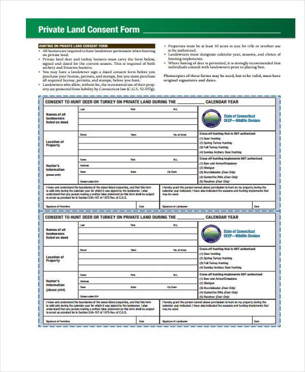 private land consent form in pdf