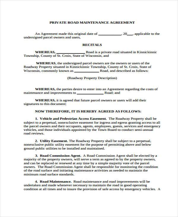 Free 6 Sample Road Maintenance Agreement Forms In Pdf Word