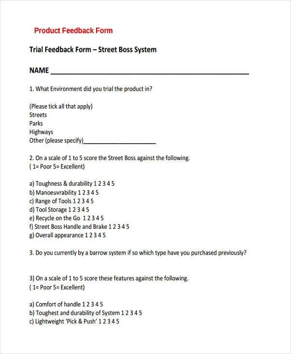 product trial feedback form