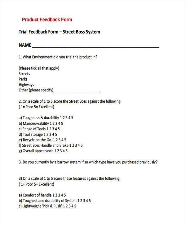 product trial feedback form