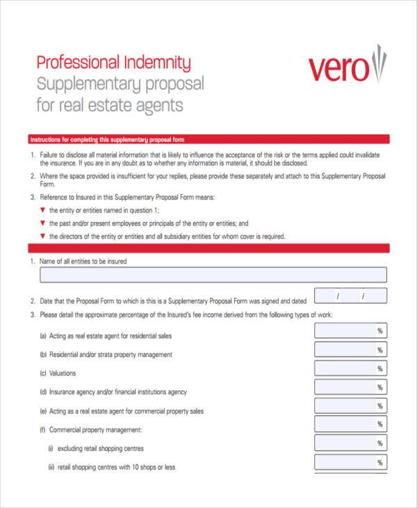 professional real estate proposal form