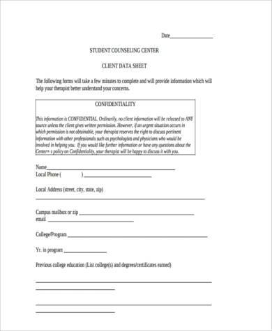 professional student counseling form