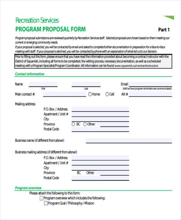 program service proposal form