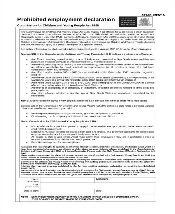 prohibited employment declaration form