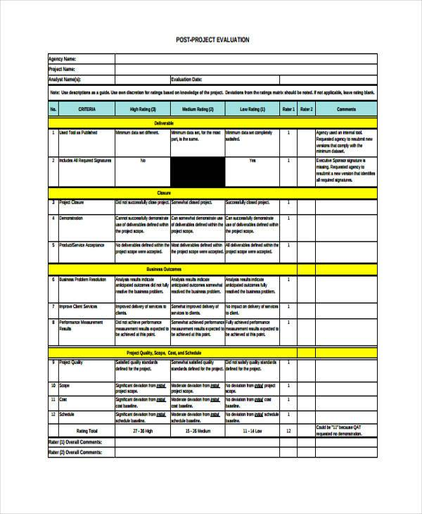 Project Evaluation Form Samples  Free Sample Example Format