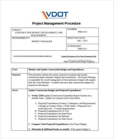 project management budget form