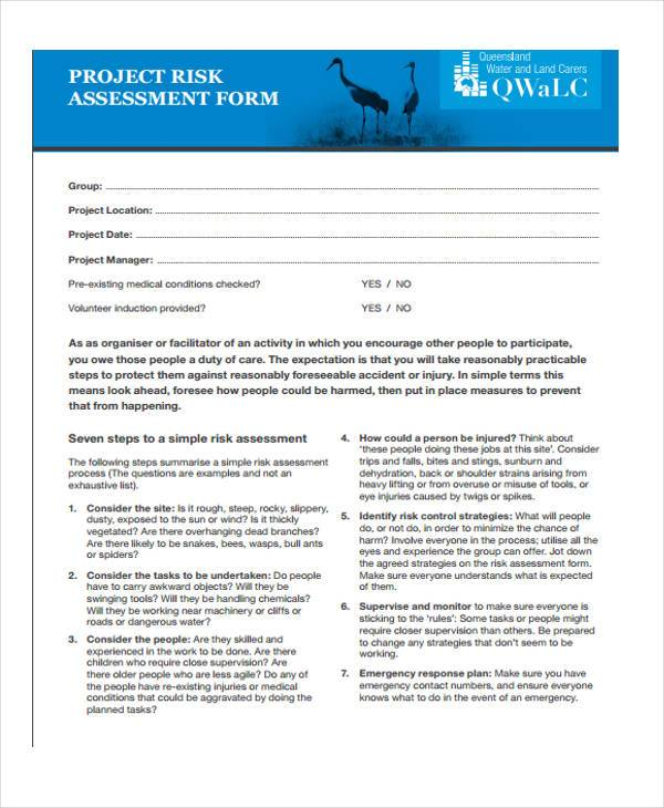 project management risk assessment form