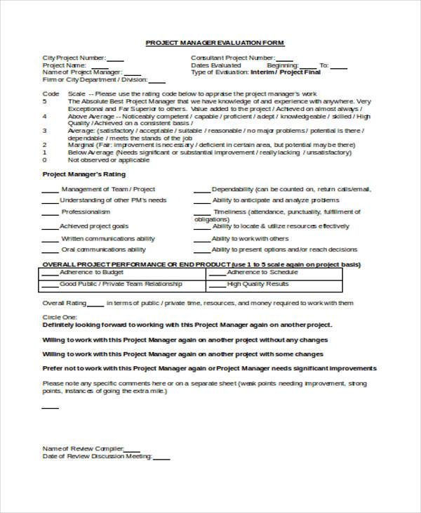 Sample Manager Evaluation Forms   Free Documents In Word Pdf