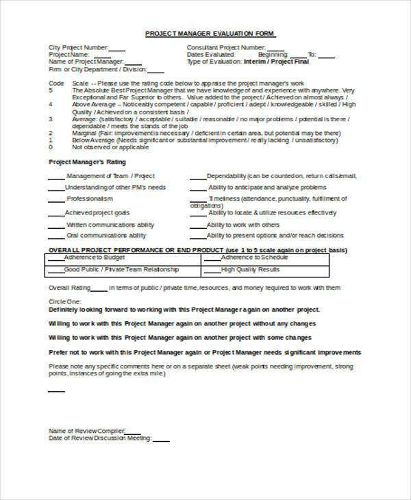 Manager Evaluation Form Samples  Free Sample Example Format