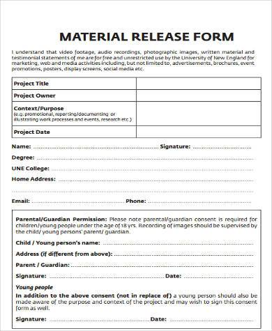 Sample Construction Release Forms   Free Documents In Word Pdf