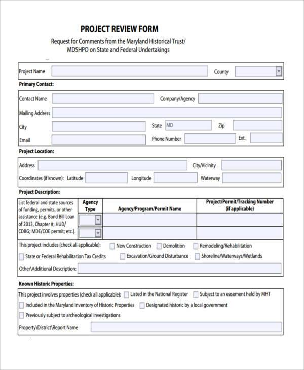free 7  sample project review forms in pdf