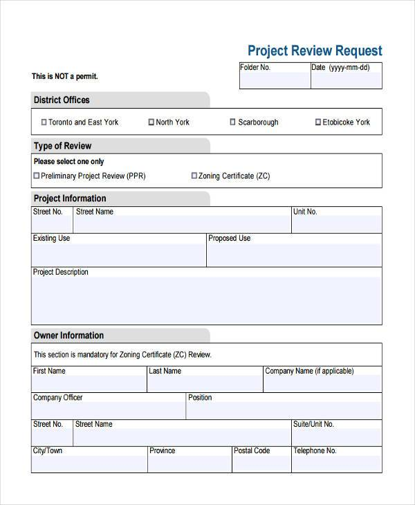 project review request form