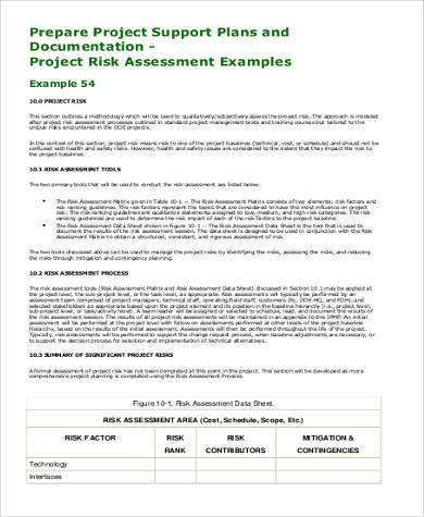 project risk assessment example pdf