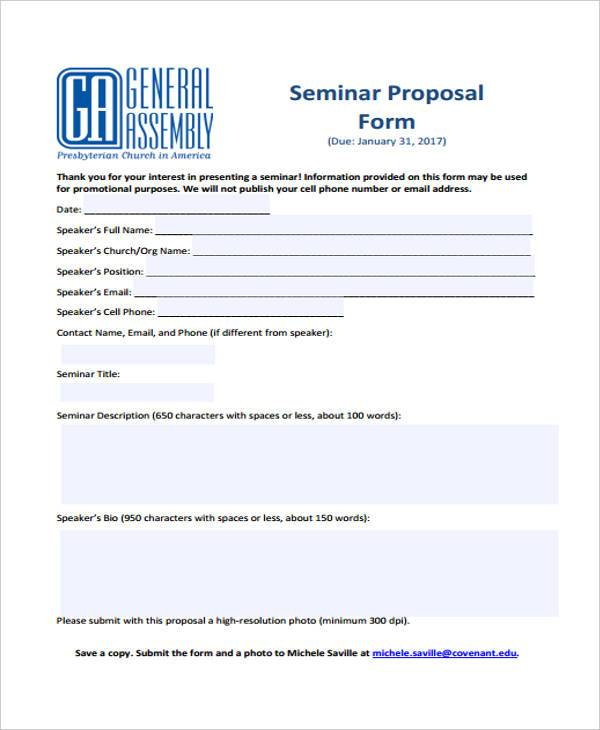 project seminar proposal form sample