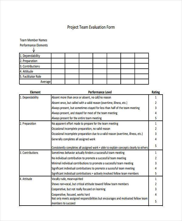 Sample Project Evaluation Forms   Free Documents In Word Pdf