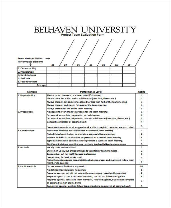 project team evaluation form1