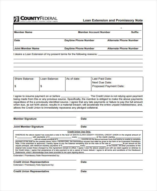 promissory note extension agreement form