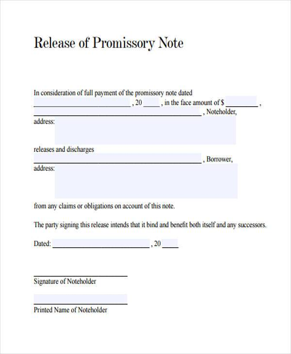 Promissory Note Release Form  Promisory Note Example