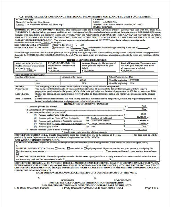 promissory note security agreement form sample