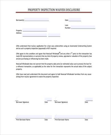 property appraisal waiver form