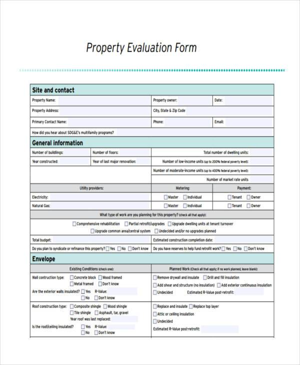 property evaluation form example